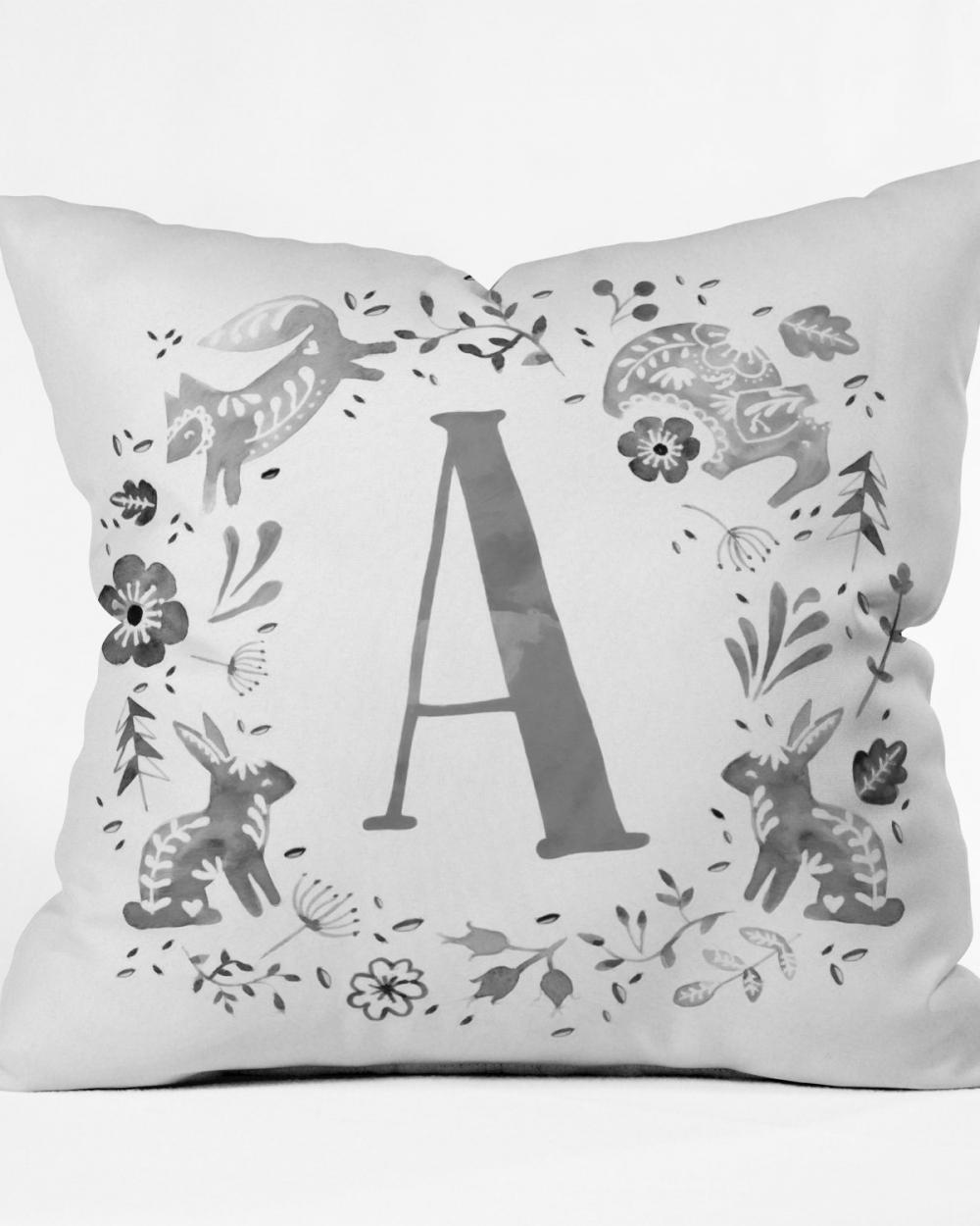 Folky Forest Momogram Pillow