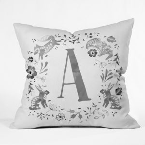Folky Forest Momogram Pillow