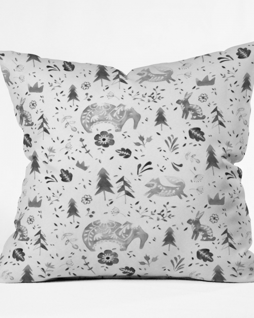 Folky Forest Throw Pillow