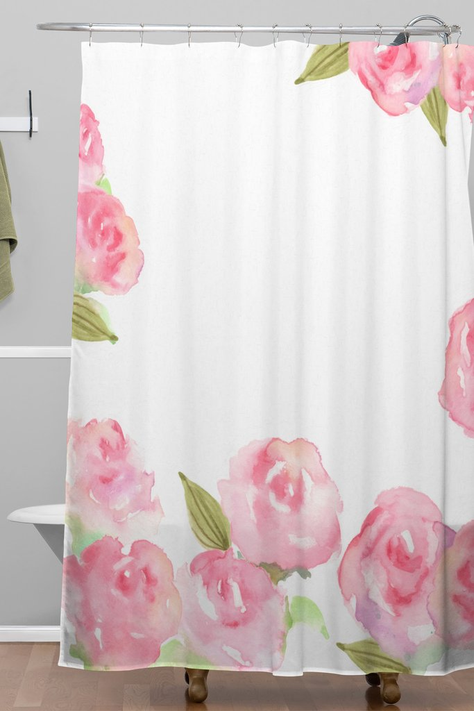 Raining Roses Woven Shower Curtain