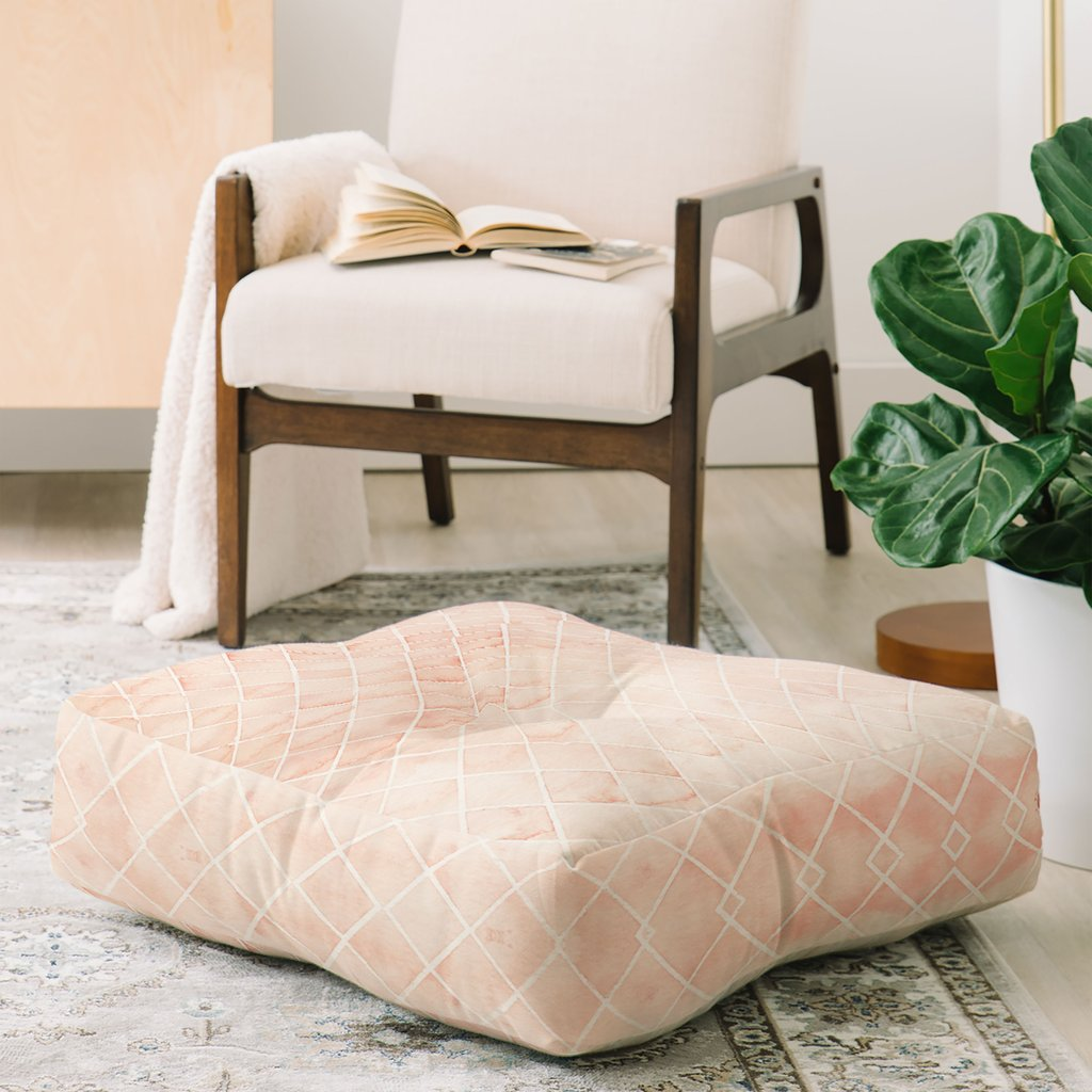 Diamond Watercolor Grid Floor Pillow by Wonder Forest