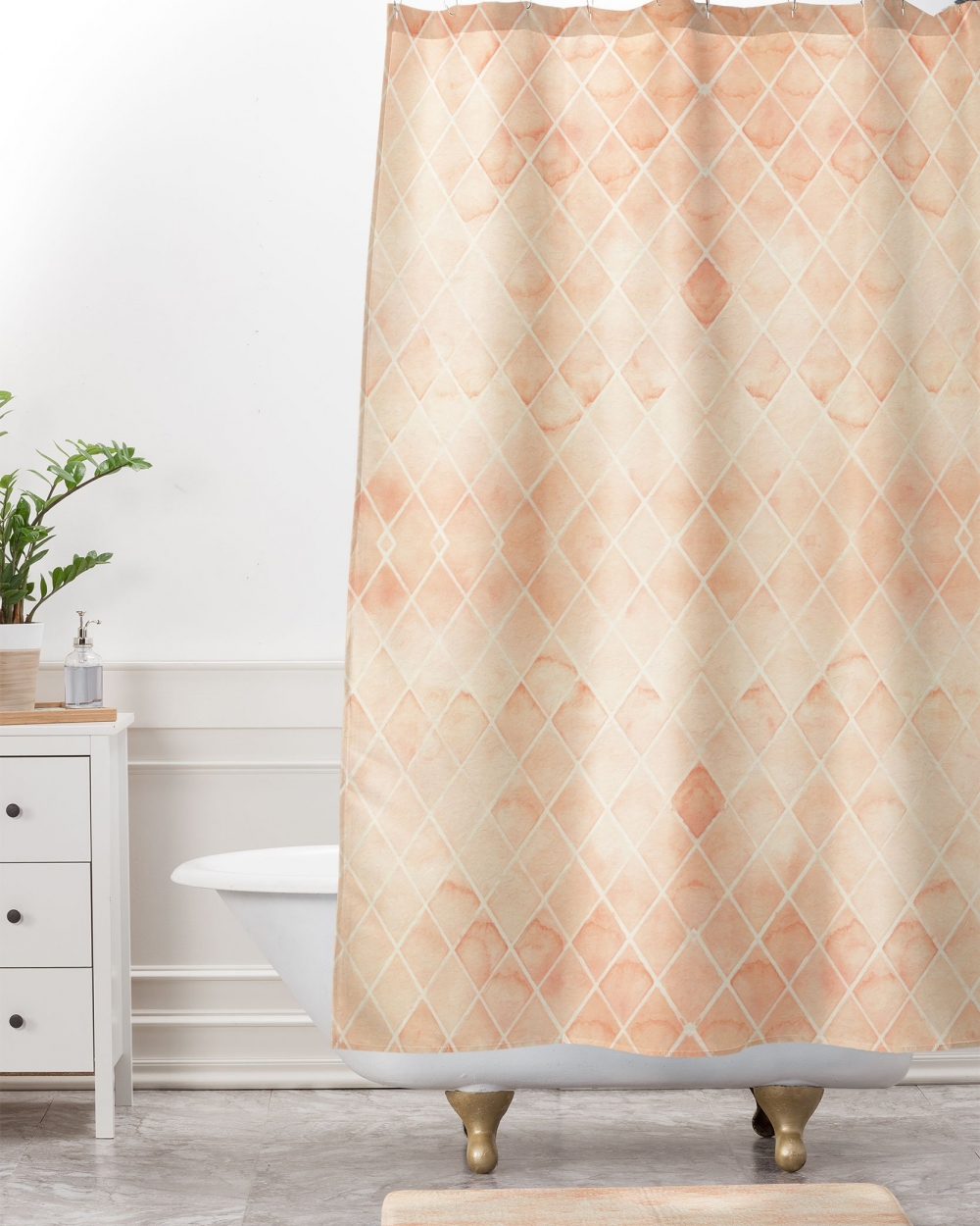 Diamond Watercolor Grid Shower Curtain by Wonder Forest