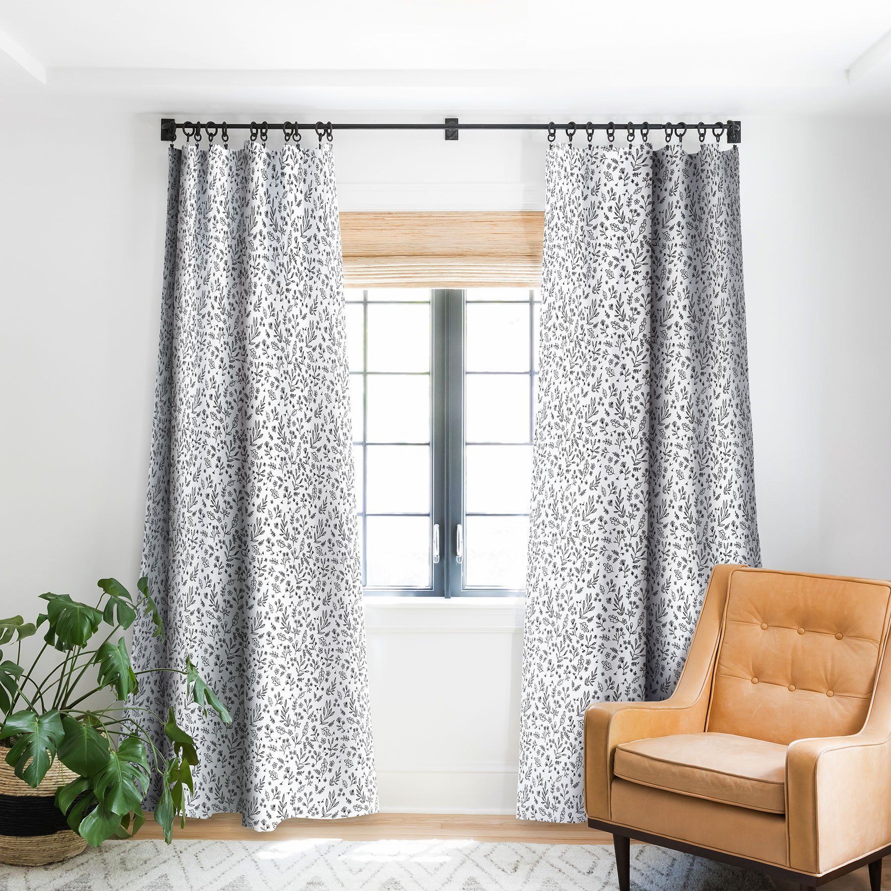 Floral Sketches Blackout Curtain Panel by Wonder Forest