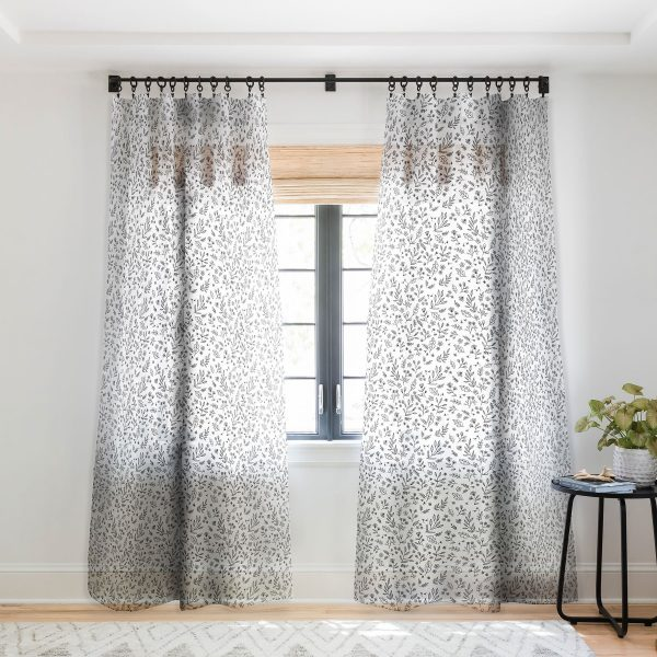 Floral Sketches Curtain Panel by Wonder Forest