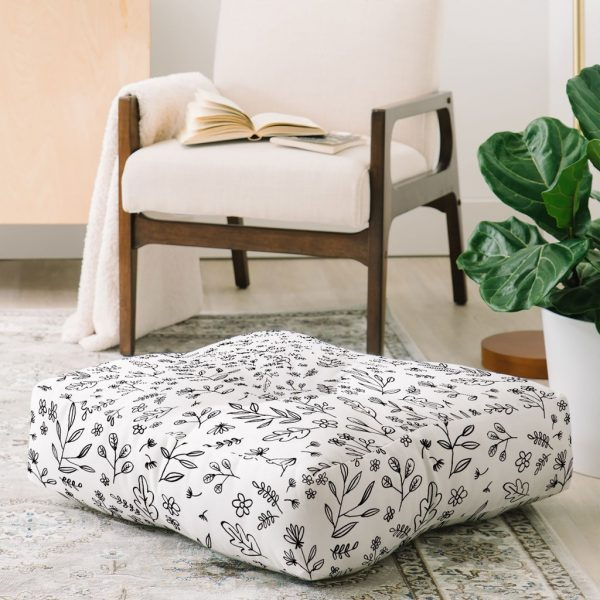 Floral Sketches Floor Pillow by Wonder Forest