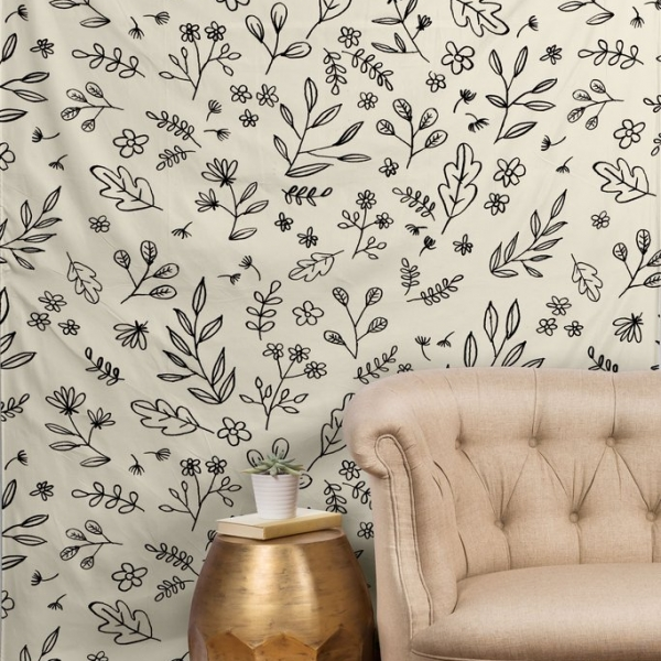 Floral Sketches Tapestry by Wonder Forest